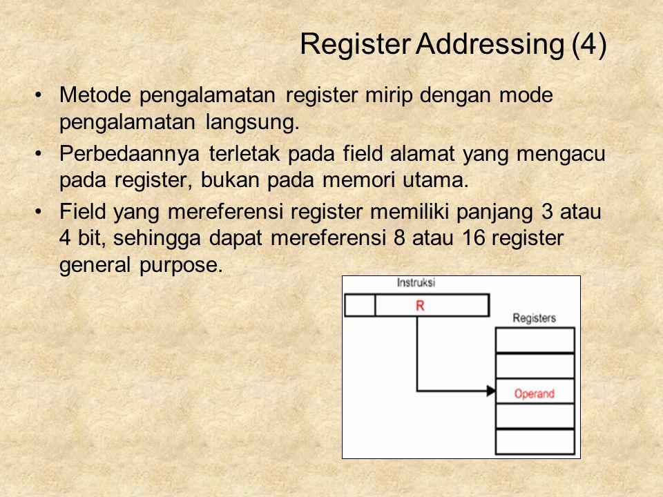 Metode pengalamatan register mirip dengan mode pengalamatan langsung. Perbedaannya terletak pada field alamat yang mengacu pada register, bukan pada m