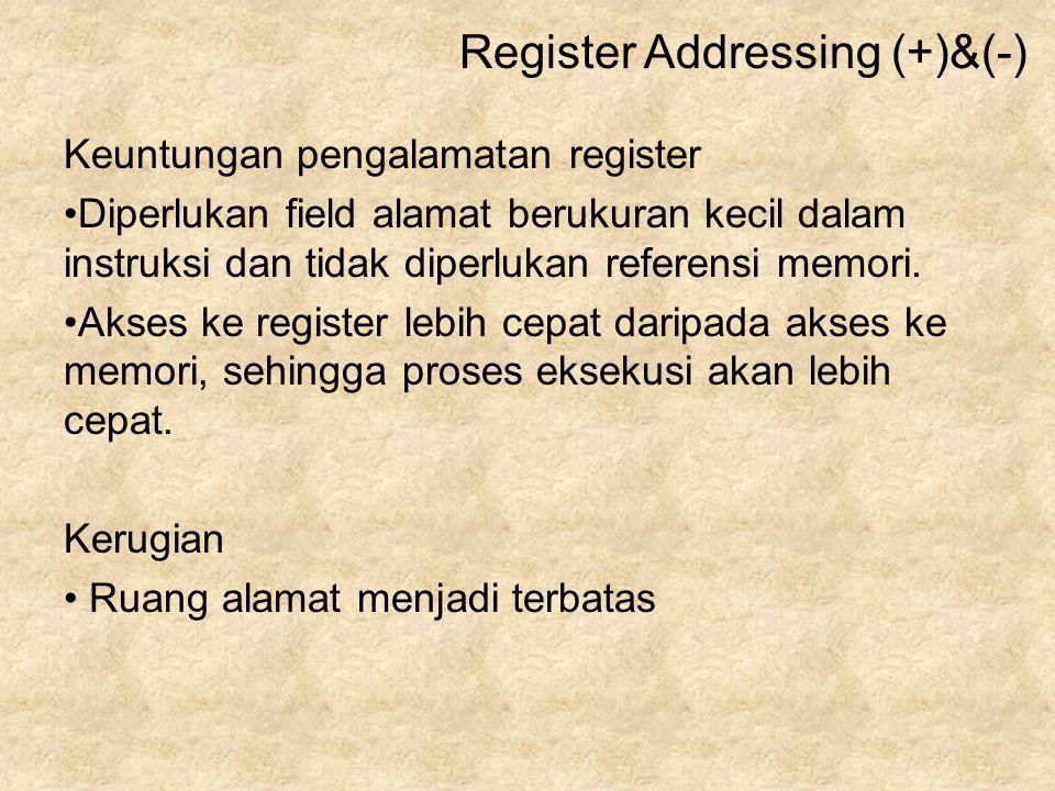Keuntungan pengalamatan register Diperlukan field alamat berukuran kecil dalam instruksi dan tidak diperlukan referensi memori. Akses ke register lebi