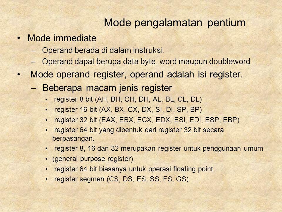 Mode immediate – Operand berada di dalam instruksi. – Operand dapat berupa data byte, word maupun doubleword Mode operand register, operand adalah isi