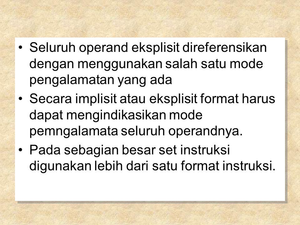 Seluruh operand eksplisit direferensikan dengan menggunakan salah satu mode pengalamatan yang ada Secara implisit atau eksplisit format harus dapat me