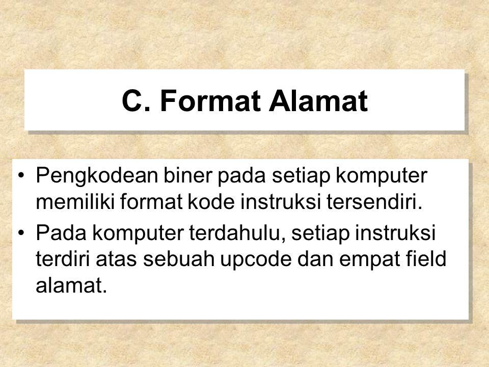 C. Format Alamat Pengkodean biner pada setiap komputer memiliki format kode instruksi tersendiri. Pada komputer terdahulu, setiap instruksi terdiri at
