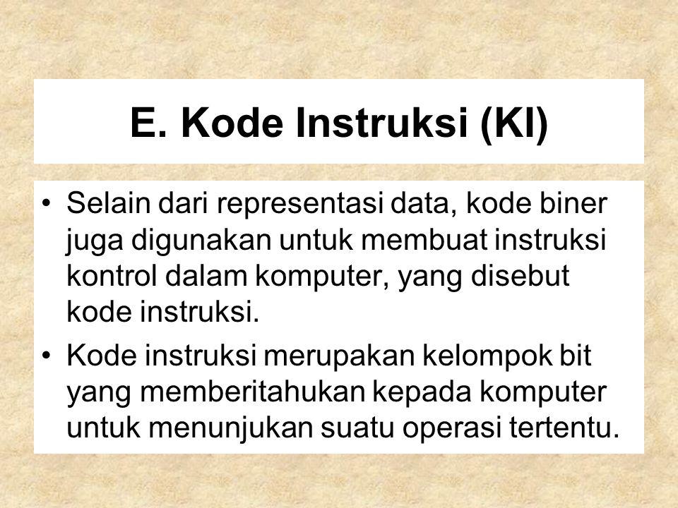 E. Kode Instruksi (KI) Selain dari representasi data, kode biner juga digunakan untuk membuat instruksi kontrol dalam komputer, yang disebut kode inst