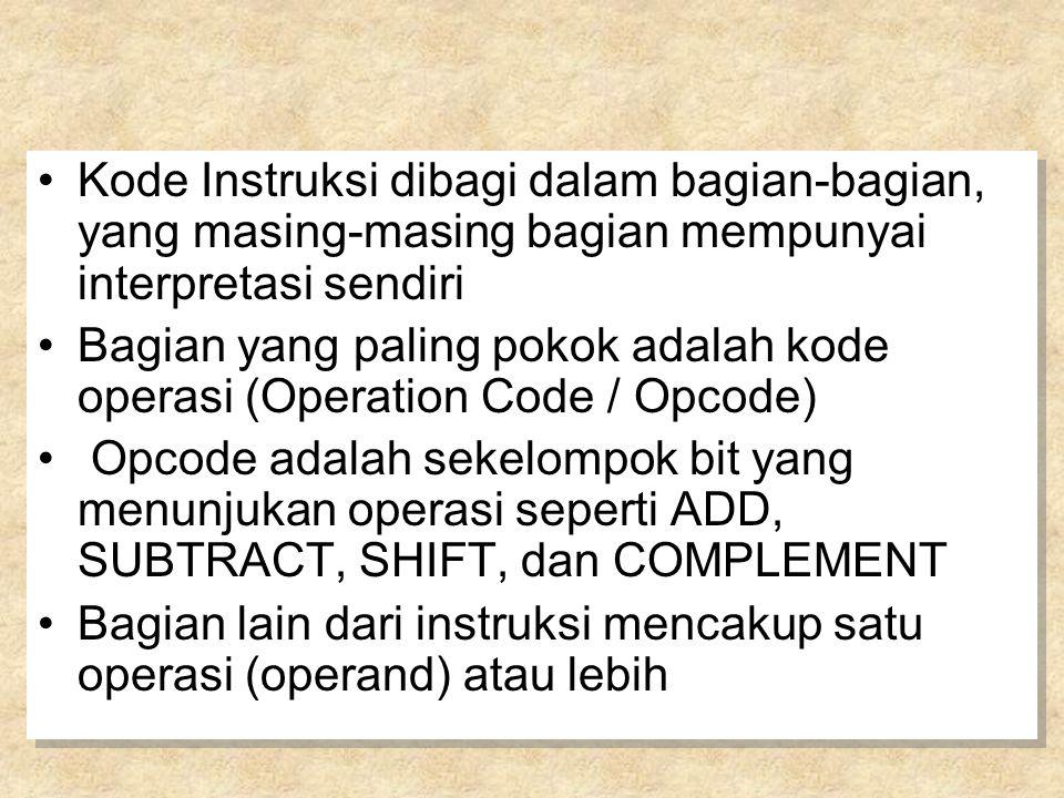 Kode Instruksi dibagi dalam bagian-bagian, yang masing-masing bagian mempunyai interpretasi sendiri Bagian yang paling pokok adalah kode operasi (Operation Code / Opcode) Opcode adalah sekelompok bit yang menunjukan operasi seperti ADD, SUBTRACT, SHIFT, dan COMPLEMENT Bagian lain dari instruksi mencakup satu operasi (operand) atau lebih Kode Instruksi dibagi dalam bagian-bagian, yang masing-masing bagian mempunyai interpretasi sendiri Bagian yang paling pokok adalah kode operasi (Operation Code / Opcode) Opcode adalah sekelompok bit yang menunjukan operasi seperti ADD, SUBTRACT, SHIFT, dan COMPLEMENT Bagian lain dari instruksi mencakup satu operasi (operand) atau lebih