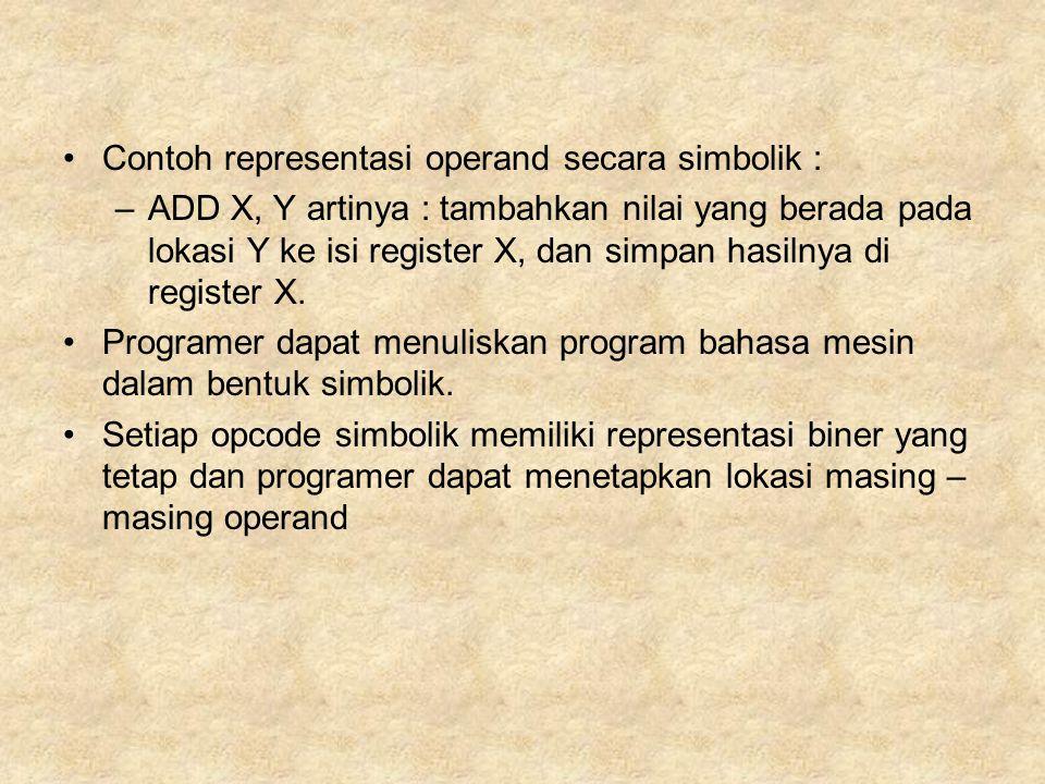 Contoh representasi operand secara simbolik : –ADD X, Y artinya : tambahkan nilai yang berada pada lokasi Y ke isi register X, dan simpan hasilnya di register X.