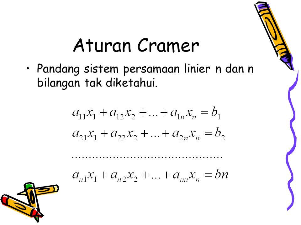 Aturan Cramer Pandang sistem persamaan linier n dan n bilangan tak diketahui.