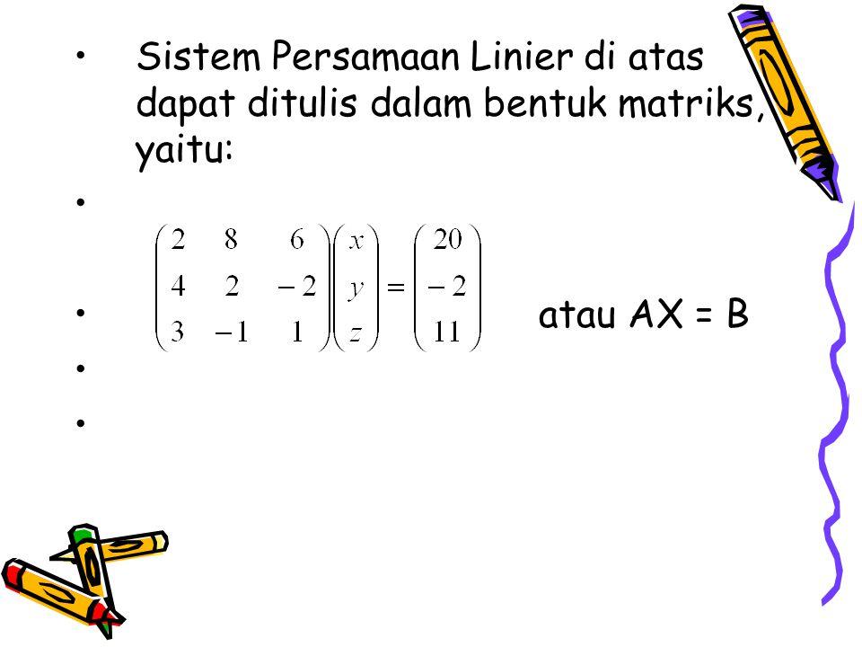 Determinan matriks koefisien: