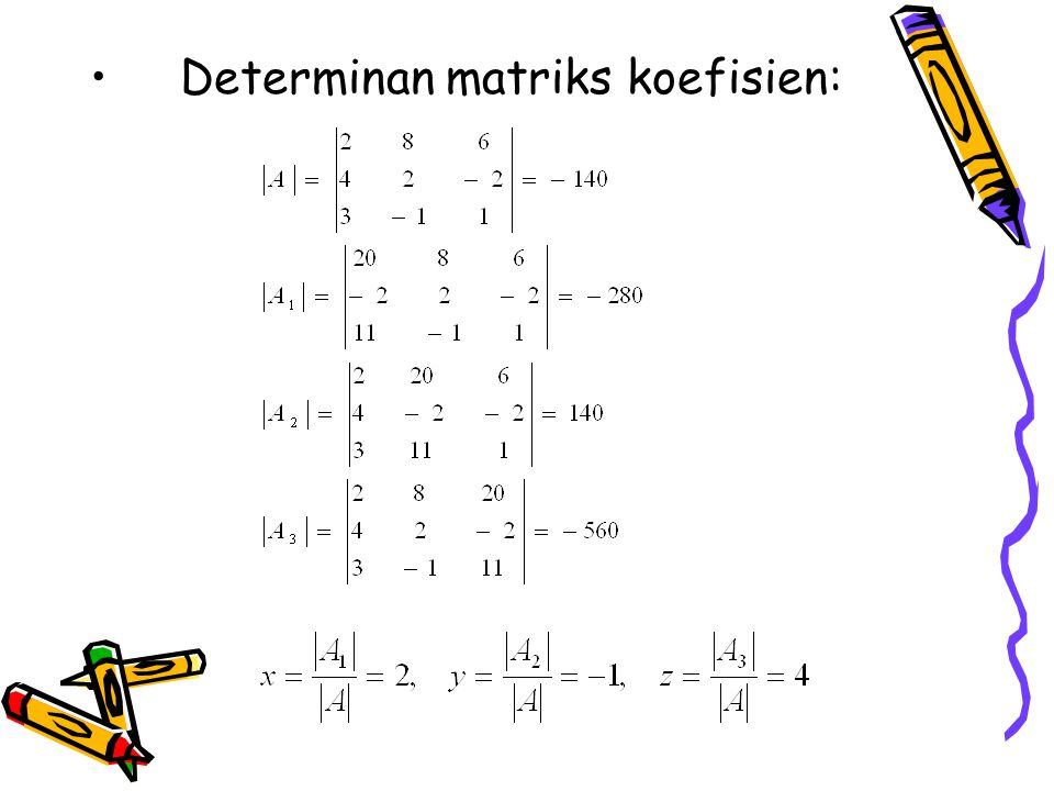 Determinan matriks koefisien:
