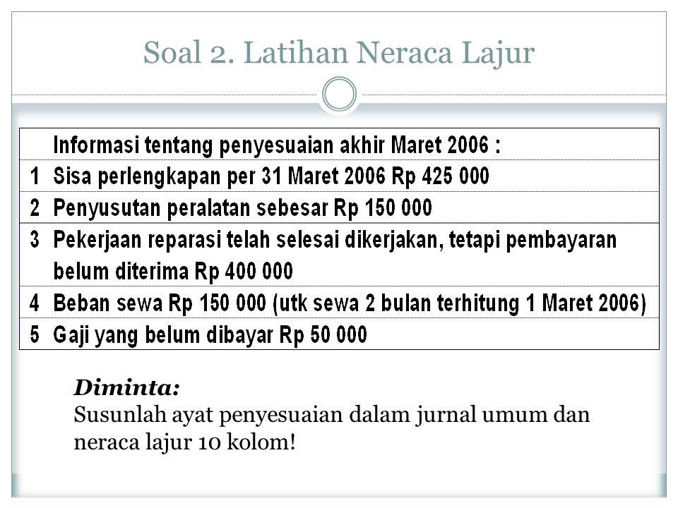 Soal 2. Latihan Neraca Lajur Diminta: Susunlah ayat penyesuaian dalam jurnal umum dan neraca lajur 10 kolom!