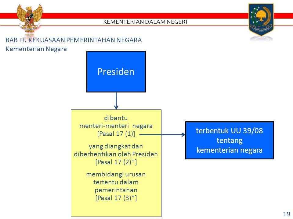 Presiden dibantu menteri-menteri negara [Pasal 17 (1)] yang diangkat dan diberhentikan oleh Presiden [Pasal 17 (2)*] membidangi urusan tertentu dalam