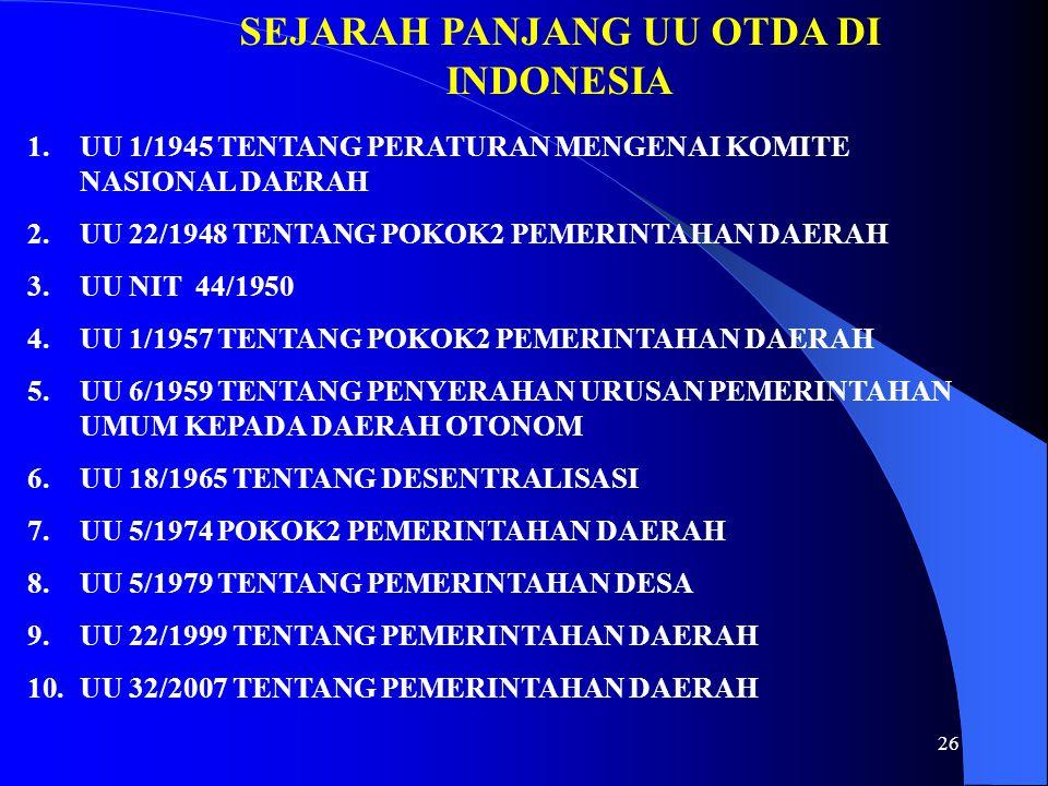 SEJARAH PANJANG UU OTDA DI INDONESIA 1.UU 1/1945 TENTANG PERATURAN MENGENAI KOMITE NASIONAL DAERAH 2.UU 22/1948 TENTANG POKOK2 PEMERINTAHAN DAERAH 3.U