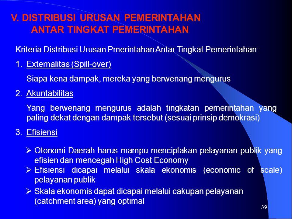 39 V. DISTRIBUSI URUSAN PEMERINTAHAN ANTAR TINGKAT PEMERINTAHAN Kriteria Distribusi Urusan Pmerintahan Antar Tingkat Pemerintahan : 1.Externalitas (Sp