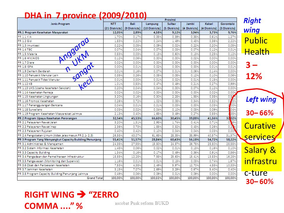 DHA in 7 province (2009/2010) Salary & infrastru c-ture Curative services Public Health 3 – 12% 30– 66% 30– 60% RIGHT WING  ZERRO COMMA.... % Right wing Left wing Anggaraa n UKM sangat kecil ascobat Pusk reform BUKD