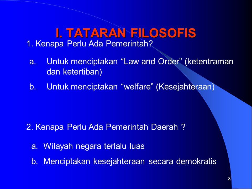 "8 I. TATARAN FILOSOFIS 1. Kenapa Perlu Ada Pemerintah? a.Untuk menciptakan ""Law and Order"" (ketentraman dan ketertiban) b.Untuk menciptakan ""welfare"""