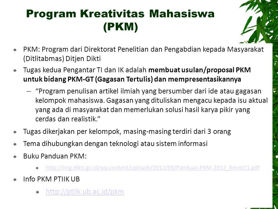 Program Kreativitas Mahasiswa (PKM)  PKM: Program dari Direktorat Penelitian dan Pengabdian kepada Masyarakat (Ditlitabmas) Ditjen Dikti  Tugas kedu