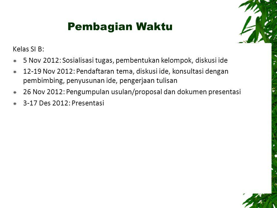 Pembagian Waktu Kelas SI B:  5 Nov 2012: Sosialisasi tugas, pembentukan kelompok, diskusi ide  12-19 Nov 2012: Pendaftaran tema, diskusi ide, konsul