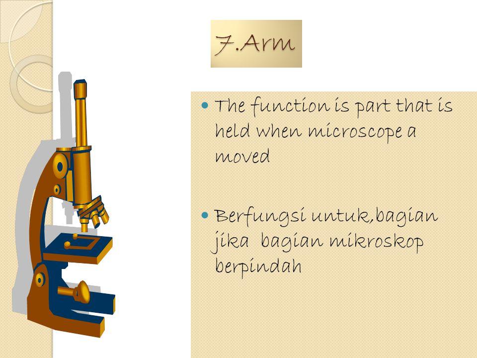 6.Objective Lens The function is to magnify object Berfungsi untuk memperbesar atau menambah objek