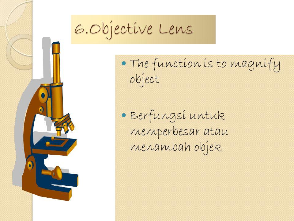5.Revolver The function is objective lens location Berfungsi untuk menentukan lokasi lensa