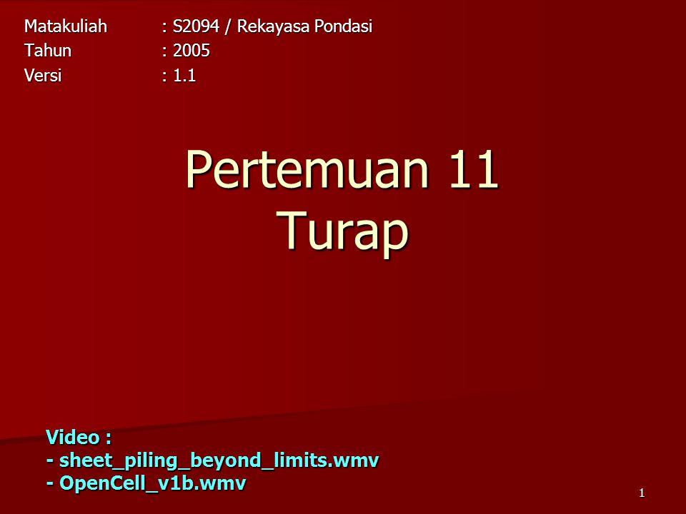 1 Pertemuan 11 Turap Matakuliah: S2094 / Rekayasa Pondasi Tahun: 2005 Versi: 1.1 Video : - sheet_piling_beyond_limits.wmv - OpenCell_v1b.wmv