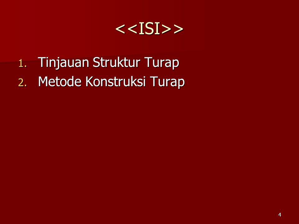 4 <<ISI>> 1. Tinjauan Struktur Turap 2. Metode Konstruksi Turap