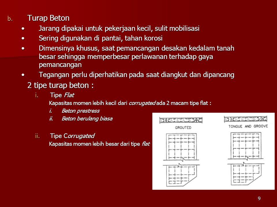 9 b. Turap Beton Jarang dipakai untuk pekerjaan kecil, sulit mobilisasiJarang dipakai untuk pekerjaan kecil, sulit mobilisasi Sering digunakan di pant