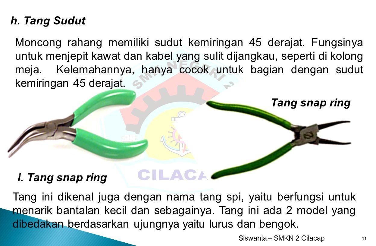 Siswanta – SMKN 2 Cilacap 11 h.Tang Sudut Moncong rahang memiliki sudut kemiringan 45 derajat.