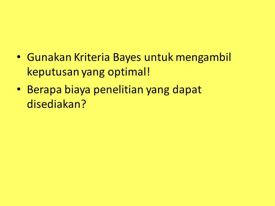 Gunakan Kriteria Bayes untuk mengambil keputusan yang optimal.