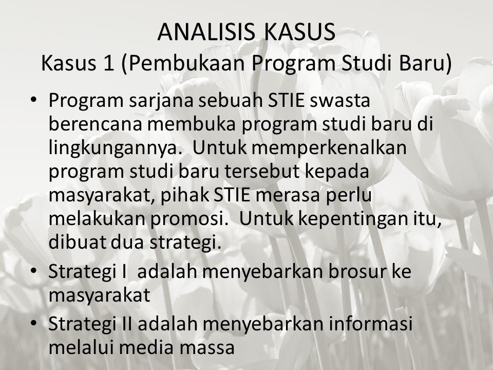 ANALISIS KASUS Kasus 1 (Pembukaan Program Studi Baru) Program sarjana sebuah STIE swasta berencana membuka program studi baru di lingkungannya. Untuk