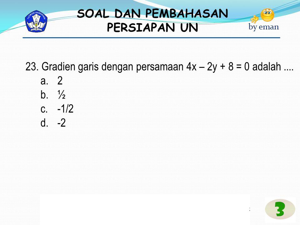 SOAL DAN PEMBAHASAN PERSIAPAN UN by eman 23. Gradien garis dengan persamaan 4x – 2y + 8 = 0 adalah.... a.2 b.½ c.-1/2 d.-2