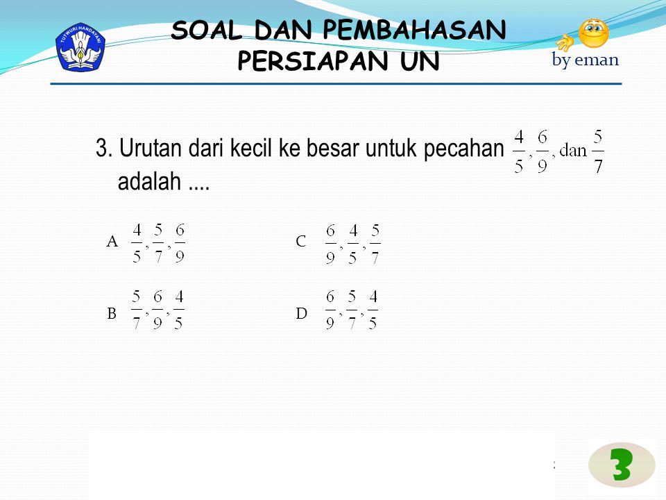 SOAL DAN PEMBAHASAN PERSIAPAN UN by eman Pembahasan : n(AUB ) = (7 – 4) + 4 + (10-4) = 3 + 4 + 6 = 13 Jawaban : C