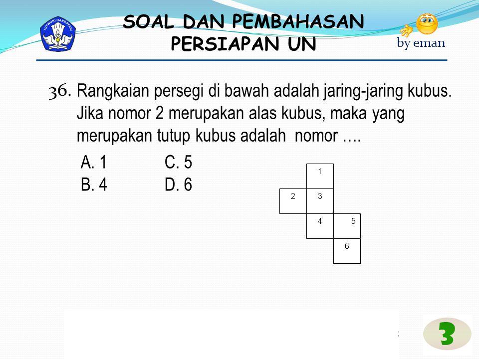 SOAL DAN PEMBAHASAN PERSIAPAN UN by eman Rangkaian persegi di bawah adalah jaring-jaring kubus. Jika nomor 2 merupakan alas kubus, maka yang merupakan