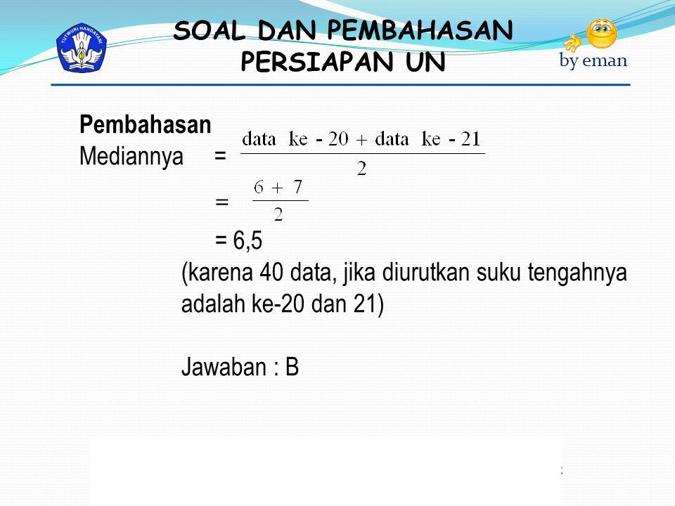 SOAL DAN PEMBAHASAN PERSIAPAN UN by eman Pembahasan Mediannya = = = 6,5 (karena 40 data, jika diurutkan suku tengahnya adalah ke-20 dan 21) Jawaban :