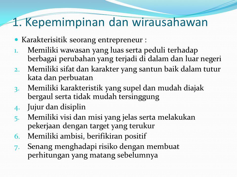 1. Kepemimpinan dan wirausahawan Karakterisitik seorang entrepreneur : 1. Memiliki wawasan yang luas serta peduli terhadap berbagai perubahan yang ter