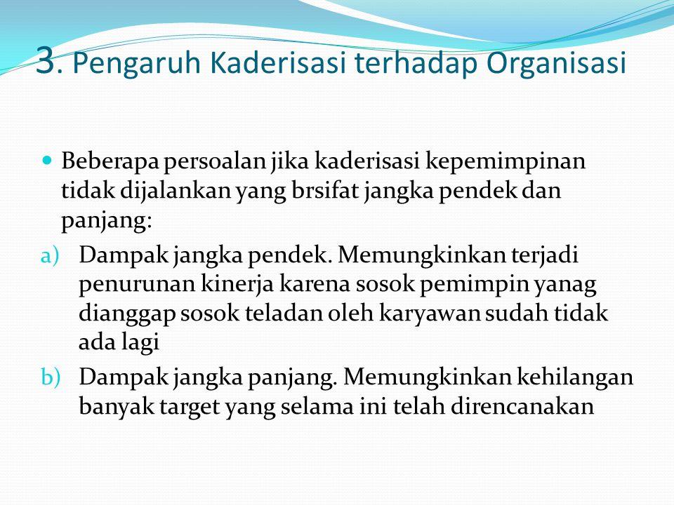 3. Pengaruh Kaderisasi terhadap Organisasi Beberapa persoalan jika kaderisasi kepemimpinan tidak dijalankan yang brsifat jangka pendek dan panjang: a)