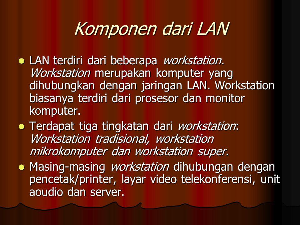 Komponen dari LAN LAN terdiri dari beberapa workstation. Workstation merupakan komputer yang dihubungkan dengan jaringan LAN. Workstation biasanya ter