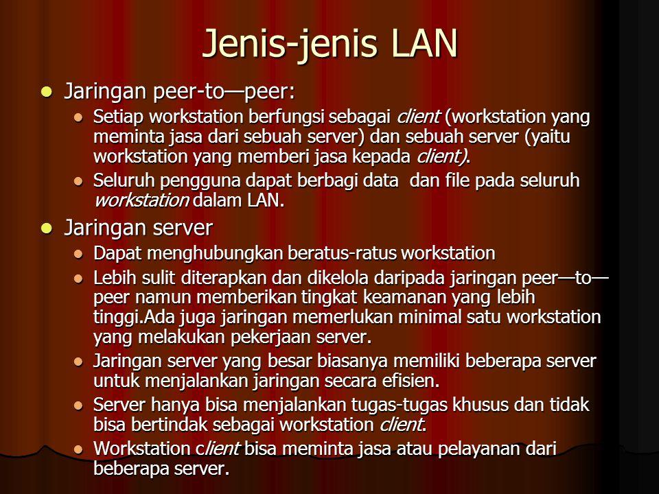 Jenis-jenis LAN Jaringan peer-to—peer: Jaringan peer-to—peer: Setiap workstation berfungsi sebagai client (workstation yang meminta jasa dari sebuah server) dan sebuah server (yaitu workstation yang memberi jasa kepada client).