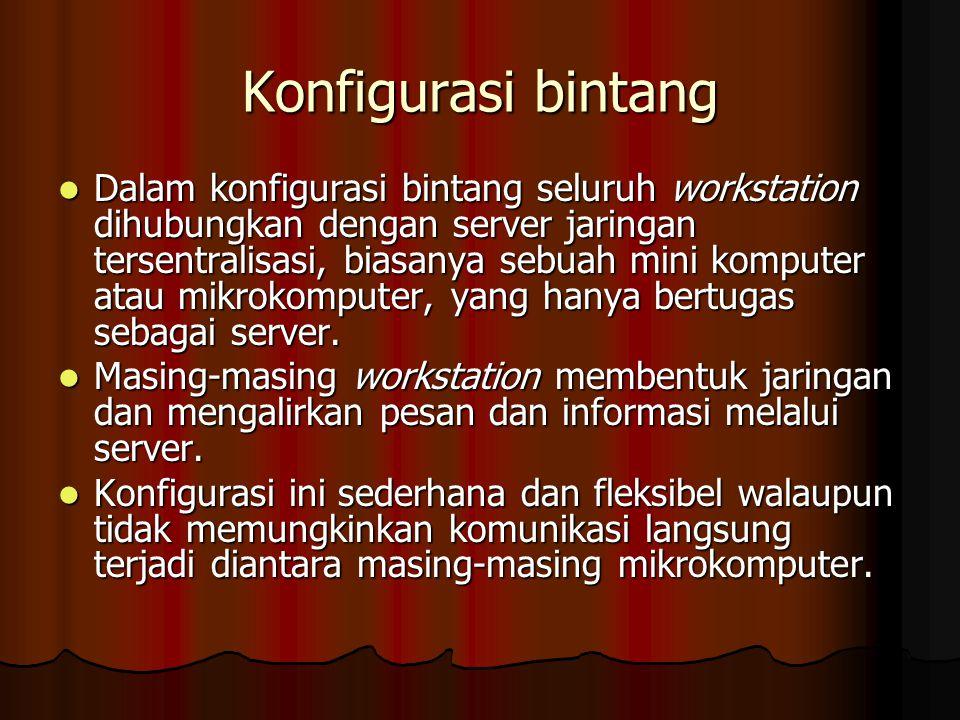 Konfigurasi bintang Dalam konfigurasi bintang seluruh workstation dihubungkan dengan server jaringan tersentralisasi, biasanya sebuah mini komputer atau mikrokomputer, yang hanya bertugas sebagai server.