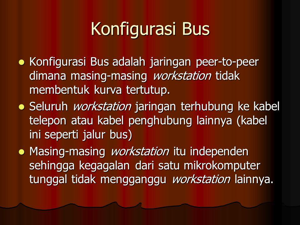 Konfigurasi Bus Konfigurasi Bus adalah jaringan peer-to-peer dimana masing-masing workstation tidak membentuk kurva tertutup. Konfigurasi Bus adalah j