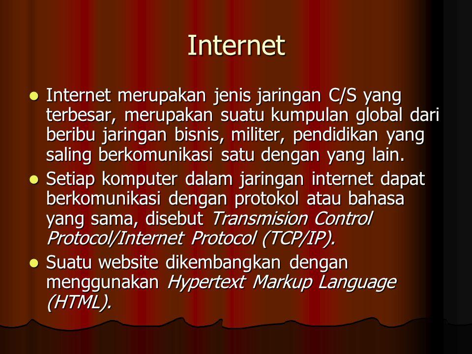 Internet Internet merupakan jenis jaringan C/S yang terbesar, merupakan suatu kumpulan global dari beribu jaringan bisnis, militer, pendidikan yang saling berkomunikasi satu dengan yang lain.