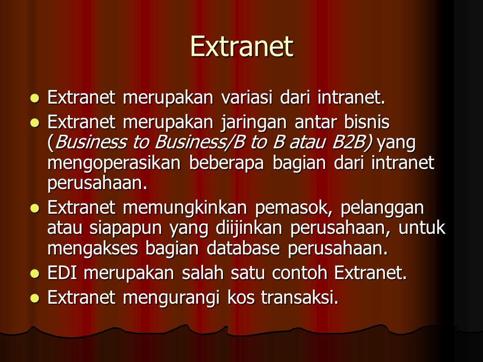 Extranet Extranet merupakan variasi dari intranet. Extranet merupakan variasi dari intranet. Extranet merupakan jaringan antar bisnis (Business to Bus