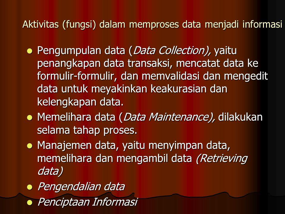 Aktivitas (fungsi) dalam memproses data menjadi informasi Pengumpulan data (Data Collection), yaitu penangkapan data transaksi, mencatat data ke formulir-formulir, dan memvalidasi dan mengedit data untuk meyakinkan keakurasian dan kelengkapan data.