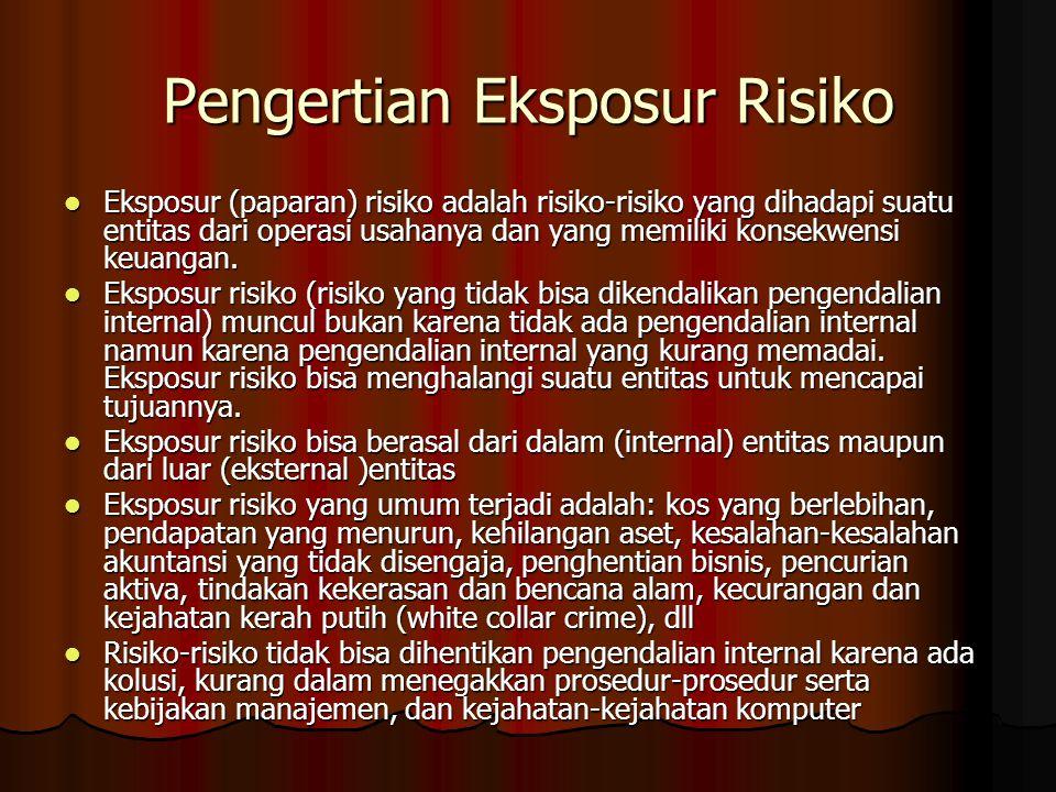 Pengertian Eksposur Risiko Eksposur (paparan) risiko adalah risiko-risiko yang dihadapi suatu entitas dari operasi usahanya dan yang memiliki konsekwe