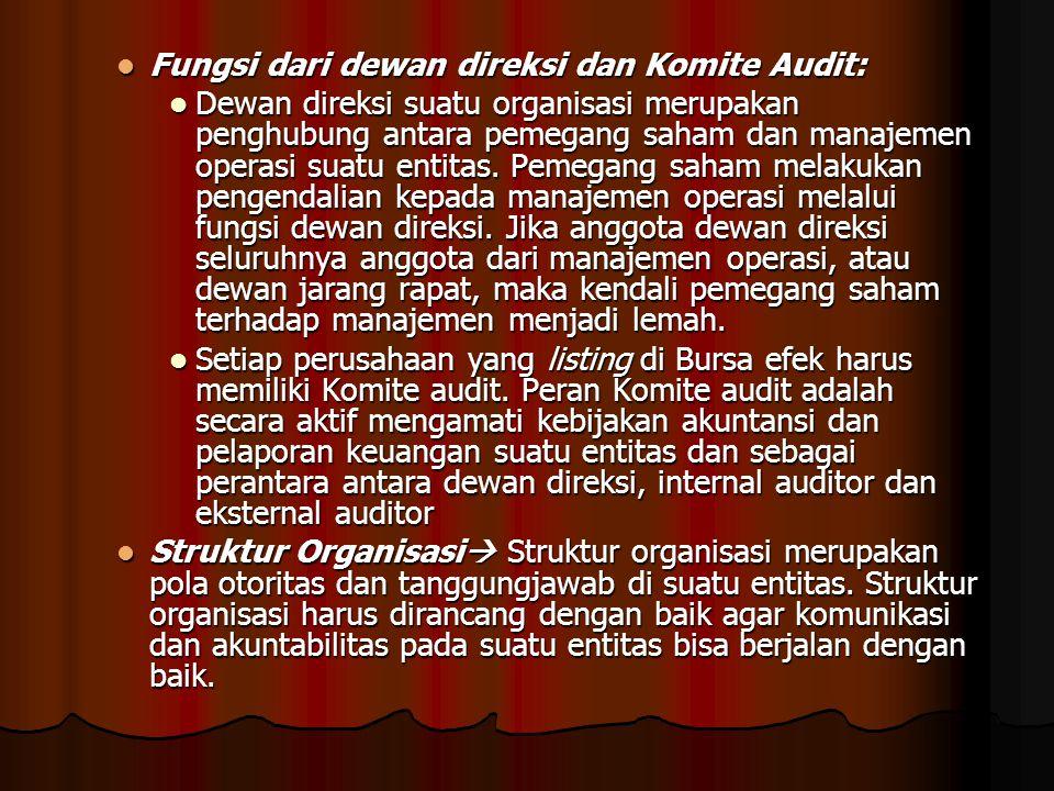 Fungsi dari dewan direksi dan Komite Audit: Fungsi dari dewan direksi dan Komite Audit: Dewan direksi suatu organisasi merupakan penghubung antara pemegang saham dan manajemen operasi suatu entitas.