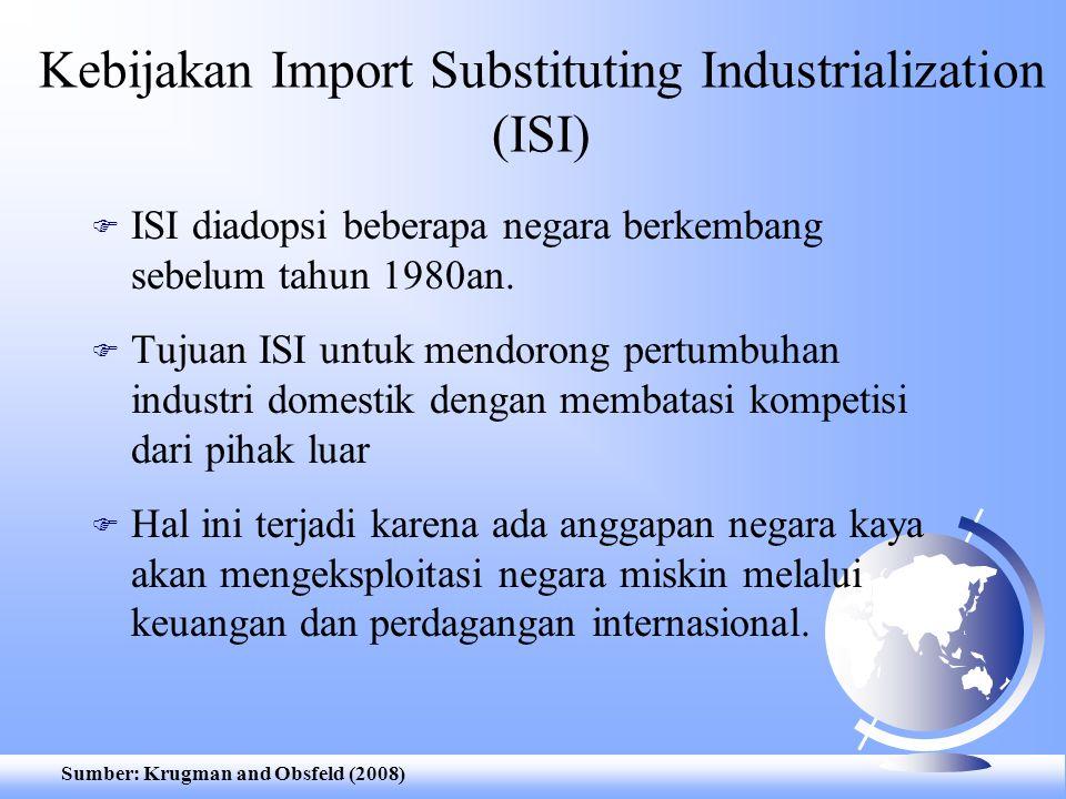 Kebijakan Import Substituting Industrialization (ISI) F ISI diadopsi beberapa negara berkembang sebelum tahun 1980an. F Tujuan ISI untuk mendorong per