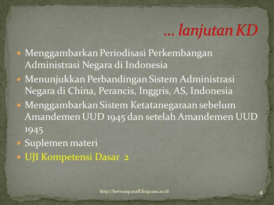 Menggambarkan Periodisasi Perkembangan Administrasi Negara di Indonesia Menunjukkan Perbandingan Sistem Administrasi Negara di China, Perancis, Inggri