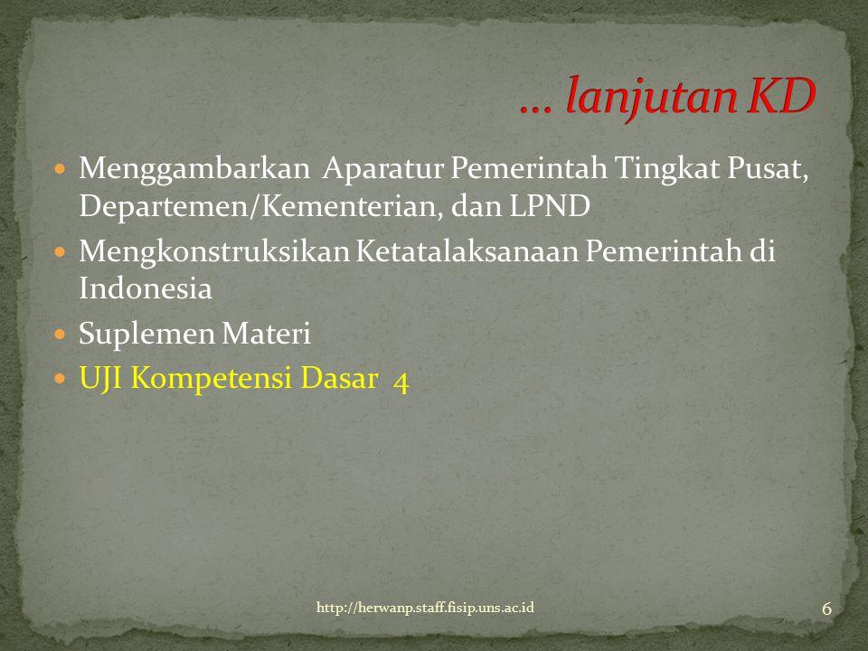 Menggambarkan Aparatur Pemerintah Tingkat Pusat, Departemen/Kementerian, dan LPND Mengkonstruksikan Ketatalaksanaan Pemerintah di Indonesia Suplemen M