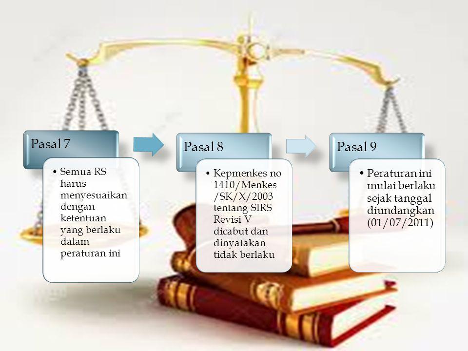 Pasal 7 Semua RS harus menyesuaikan dengan ketentuan yang berlaku dalam peraturan ini Pasal 8 Kepmenkes no 1410/Menkes /SK/X/2003 tentang SIRS Revisi V dicabut dan dinyatakan tidak berlaku Pasal 9 Peraturan ini mulai berlaku sejak tanggal diundangkan (01/07/2011)