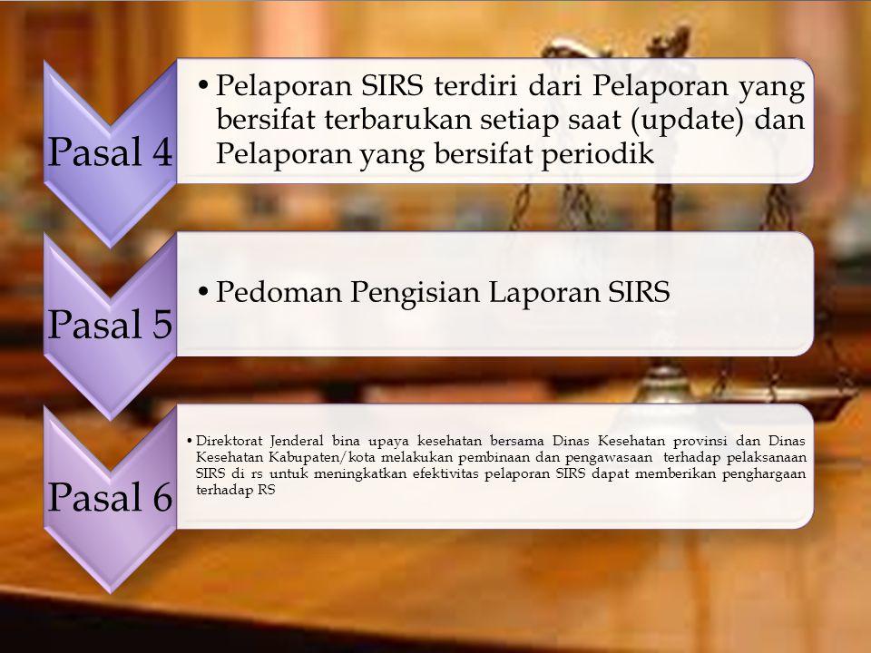 Pasal 4 Pelaporan SIRS terdiri dari Pelaporan yang bersifat terbarukan setiap saat (update) dan Pelaporan yang bersifat periodik Pasal 5 Pedoman Pengi