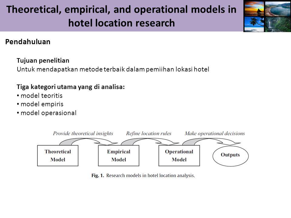 Theoretical, empirical, and operational models in hotel location research Pendahuluan Tujuan penelitian Untuk mendapatkan metode terbaik dalam pemiihan lokasi hotel Tiga kategori utama yang di analisa: model teoritis model empiris model operasional