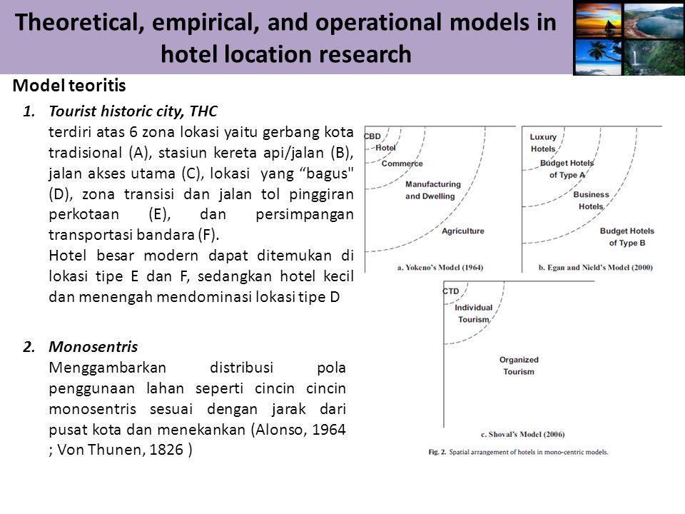 Theoretical, empirical, and operational models in hotel location research Model teoritis 3.Model aglomerasi Lokasi hotel biasanya berkelompok, baik dengan hotel homogen atau heterogen untuk mencapai efek aglomerasi.