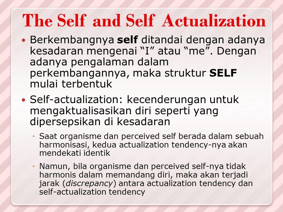 "The Self and Self Actualization Berkembangnya self ditandai dengan adanya kesadaran mengenai ""I"" atau ""me"". Dengan adanya pengalaman dalam perkembanga"